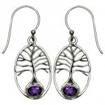 VW Amethyst Tree of Life SS Earrings