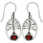 VW Garnet Tree of Life SS Earrings