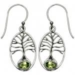 VW Peridot Tree of Life SS Earrings